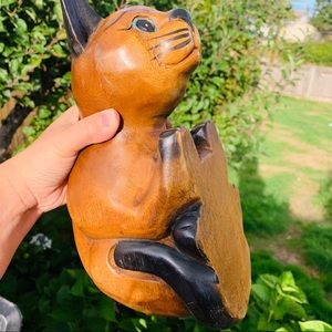 Vintage Accents - VTG. Peekaboo Kitty Cat Wooden Handmade